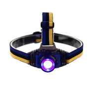3W UV Ultraviolet Rechargeable Headlamp - on and facing front
