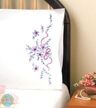 Design Works - Purple Floral Pillowcase Pair