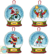 Dimensions Set of 4 Snow Globe Christmas Ornaments