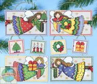 Design Works - Folk Art Angels Ornament Set (8)