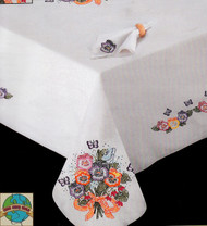 Design Works - Pansies 58in x 90in Tablecloth