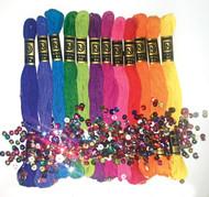 Design Works - Zenbroidery 12 Skein Brights Trim Pack