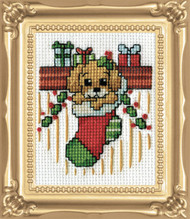 Design Works -  Puppy In Stocking Picture Kit w/Frame
