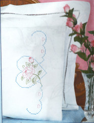 Jack Dempsey Needle Art - Rose & Heart Pillowcase Set (2)