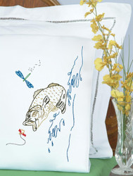 Jack Dempsey Needle Art - Fish Pillowcase Set (2)