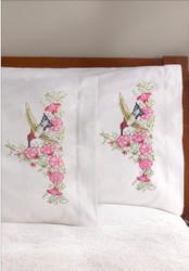Plaid / Bucilla - Hummingbird Floral Pillowcases (2)