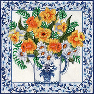 Candamar - Daffodils & Blue Delft Pillow / Picture