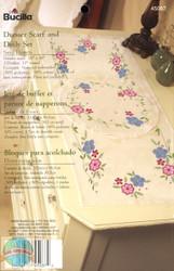 Plaid / Bucilla Swirl Flowers Scarf and Doily Set