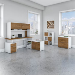Bush Business Furniture Jamestown Collection – Fresh Walnut/White
