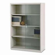 Tennsco Executive Steel Bookcase With Gl Doors Putty Tnn 352glpy