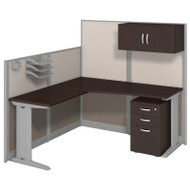 MONTHLY SPECIAL! Bush Furniture Office-in-an-Hour L-Shaped Desk Package Mocha - WC36894-03STGK