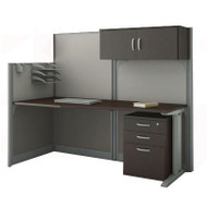 MONTHLY SPECIAL! Bush Furniture Office-in-an-Hour Straight Desk Workstation Package Mocha - WC36892-03STGK