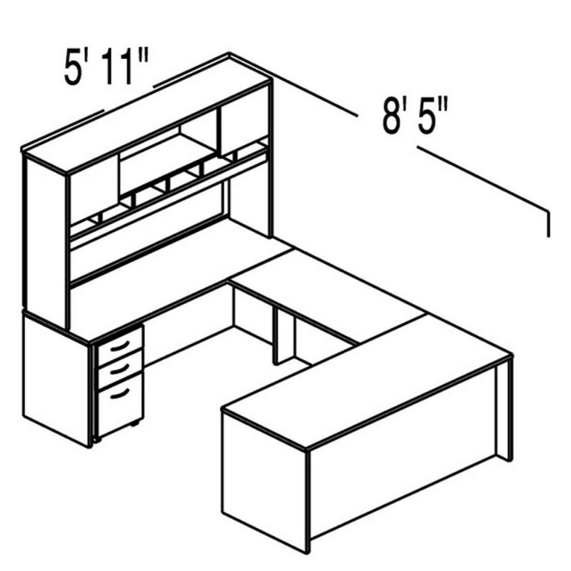 Bush Sc23 Series C Corsa U Shaped Executive Straight Desk Package 23