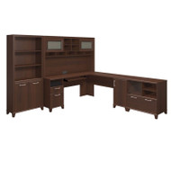 Bush Achieve L-Shaped Desk with Hutch, Bookcase and Lateral File Package Sweet Cherry Finish - ACH007SC