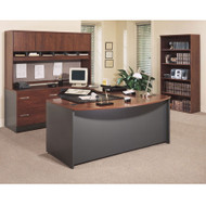 Bush Business Furniture Series C Package Executive U-Shaped Bowfront Desk Hansen Cherry Left - HCPackageB