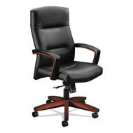 HON 5000 Series Park Avenue Collection Executive High Back Chair, Black Leather/Cognac - HON-5001COSS11