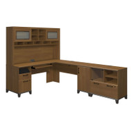 Bush Achieve L-Shaped Computer Desk with Hutch and Lateral File / Printer Stand Warm Oak Finish - ACH004WO