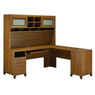 Bush Achieve L-Shaped Computer Desk with Hutch Warm Oak Finish - ACH001WO