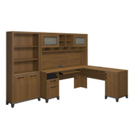 Bush Achieve L-Shaped Computer Desk with Hutch and Bookcase Package Warm Oak Finish - ACH005WO