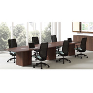 """HON Preside Modular Laminate Conference Table Boat Shape with Cube Base 192"""" - HTLC48192-CUBE192"""