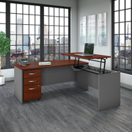 "Bush Business Furniture Series C Bow Front Sit to Stand L Shaped Desk 72"" x 36"" - SRC126HCSU"