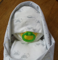 Unisex Lambs Gray and White Dots Swaddled Diaper Baby