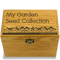 Garden Love Collection Oak Personalized 4x6 Recipe Card Box