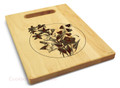 Bellflowers 9x12 Engraved Cutting Board Featuring Handle Maple Wood