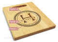 Family Seal 9x12 Engraved Cutting Board Featuring Handle Maple Wood