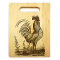 King Rooster 9x12 Small Engraved Cutting Board Handle Maple Wood