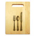 Silverware 9x12 Engraved Cutting Board Featuring Handle Maple Wood