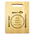 Silverware 9x12 Small Personal Cutting Board Handle Maple Wood
