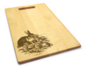 Rabbit Family 10x16 Handle Engraved Cutting Board