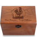 Rooster Personalized Cherry 4x6 Recipe Card Box