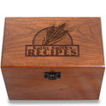Wheat Grain Personalized Cherry 4x6 Recipe Card Box