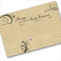 Personalized 4x6 Recipe Card Three Purple Flowers on Black and Tan 40ea