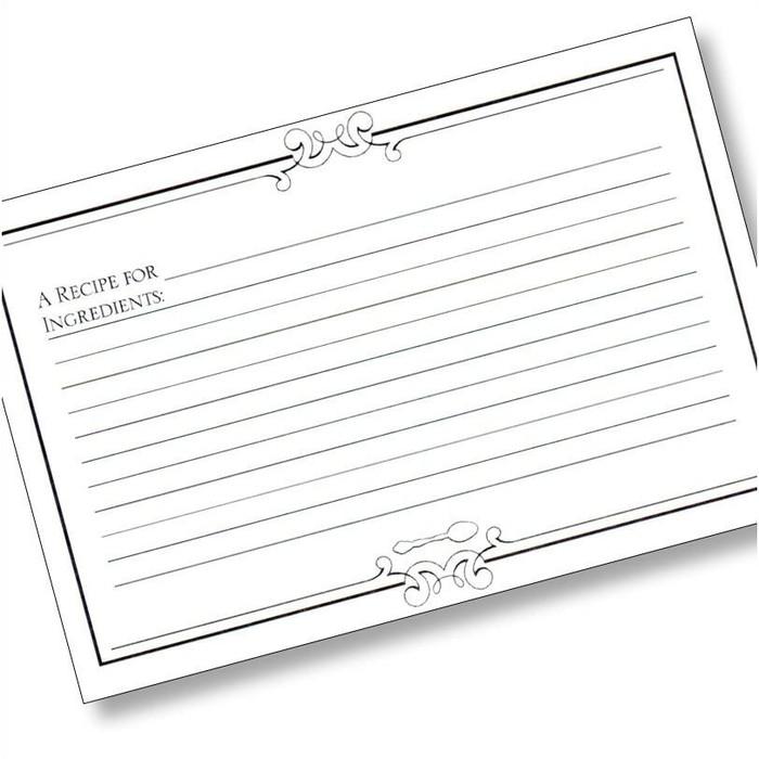 4x6 Initial Gourmet (Plain) Recipe Card - 40 ea