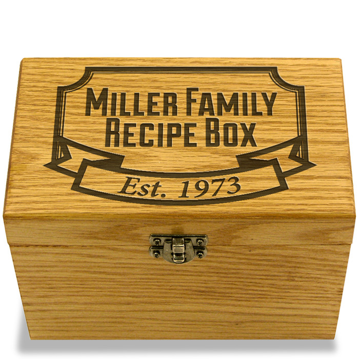Banner Year Collection Oak Personalized 4x6 Recipe Card Box