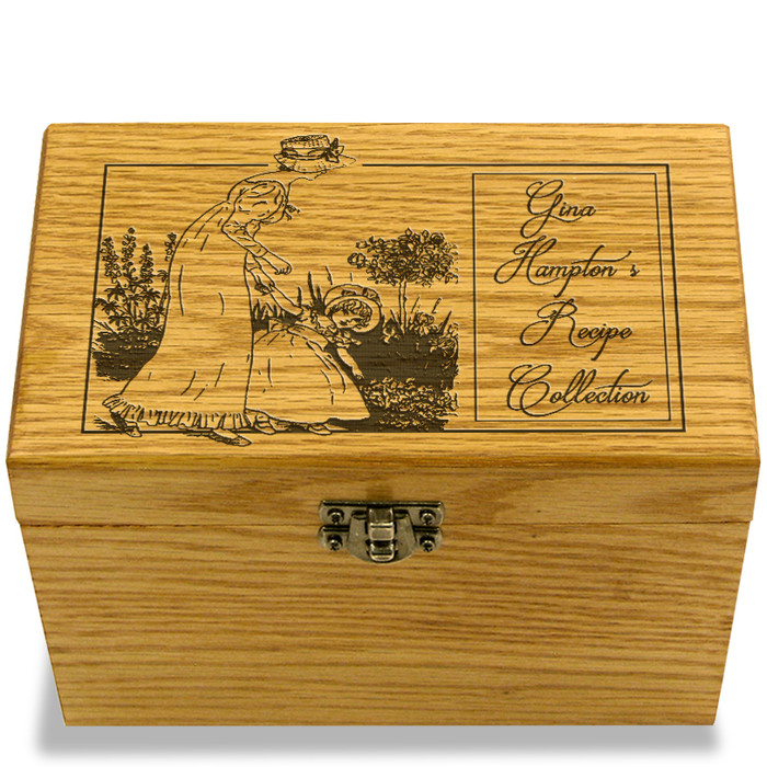 Mother & Daughter Collection Oak Personalized 4x6 Recipe Card Box