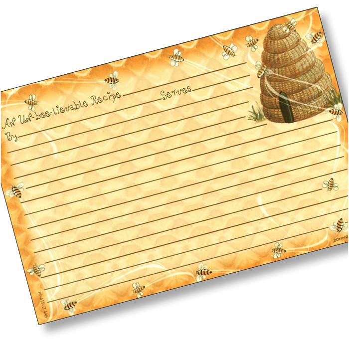 4x6 Honeybees Recipe Card