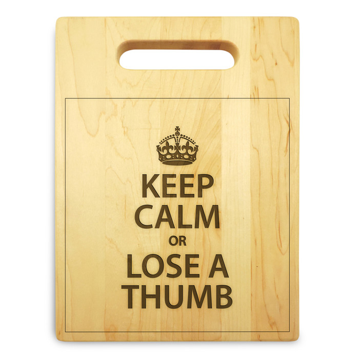 Keep Calm 9x12 Engraved Chopping Board Handle Maple Wood