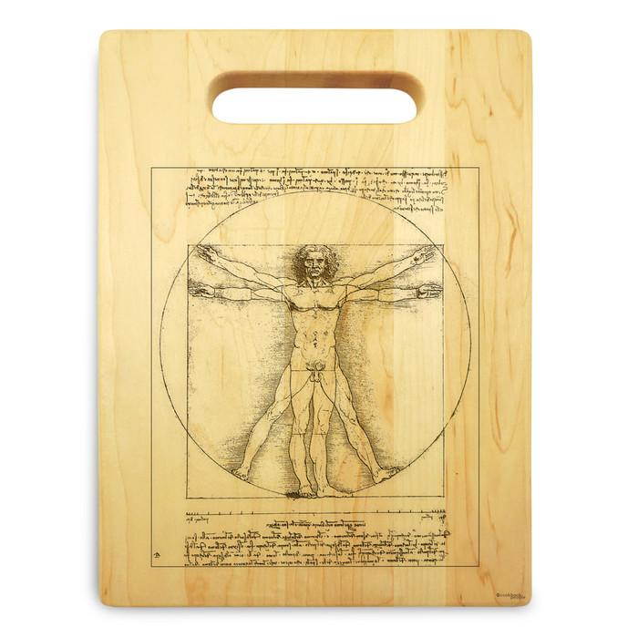 Vitruvian Man 9x12 Engraved Chopping Board Handle Maple Wood