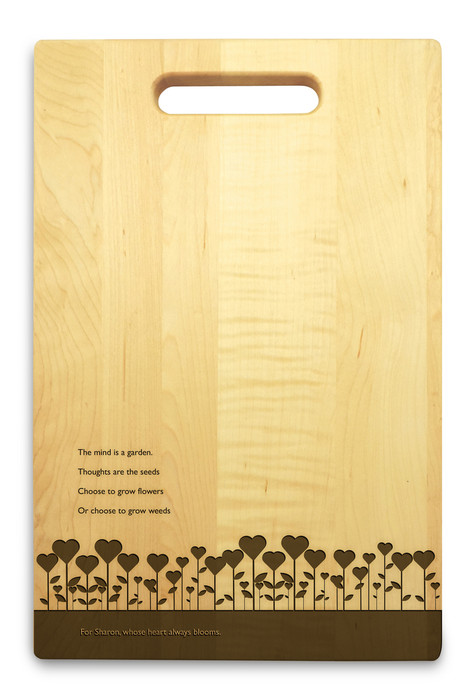 Garden Love 10x16 Handle Engraved Cutting Board