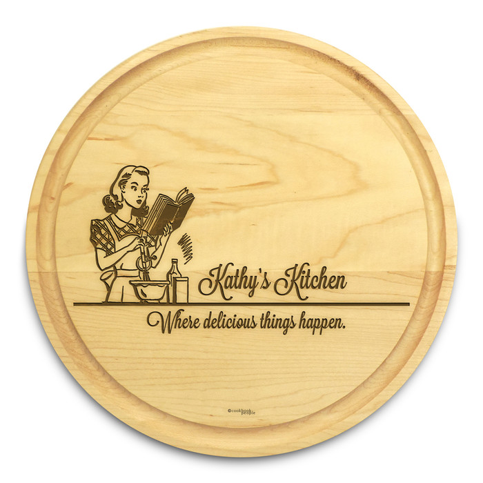 Miss Mixer 10in Round Engraved Cutting Board with Grooving