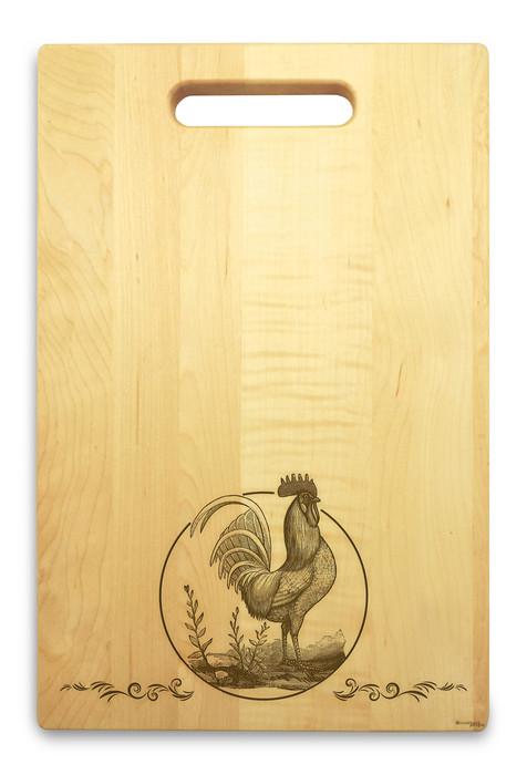 Rooster 10x16 Handle Custom Cutting Board