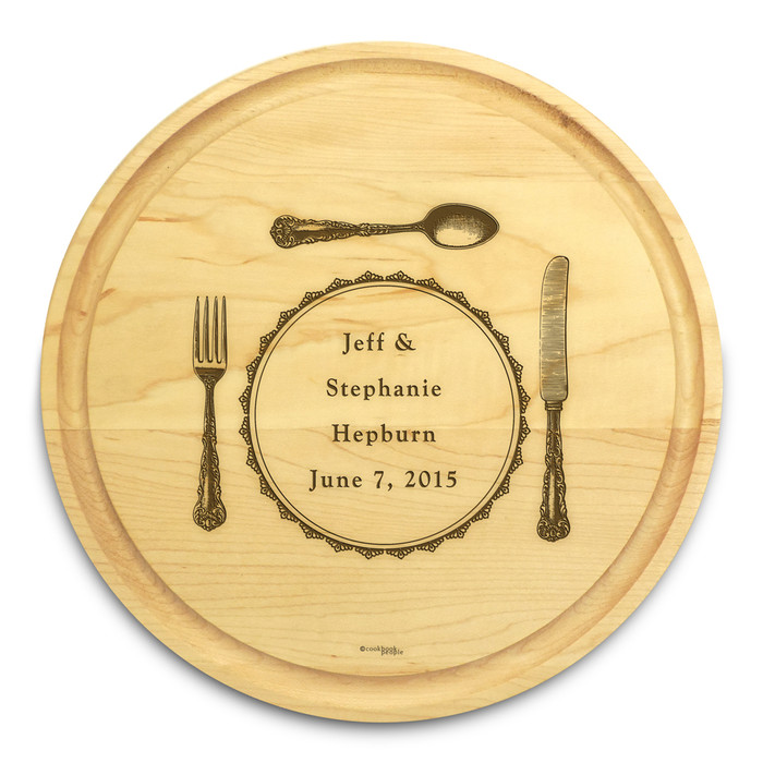 Silverware 10in Circle Maple Cutting Board with Juice Groove