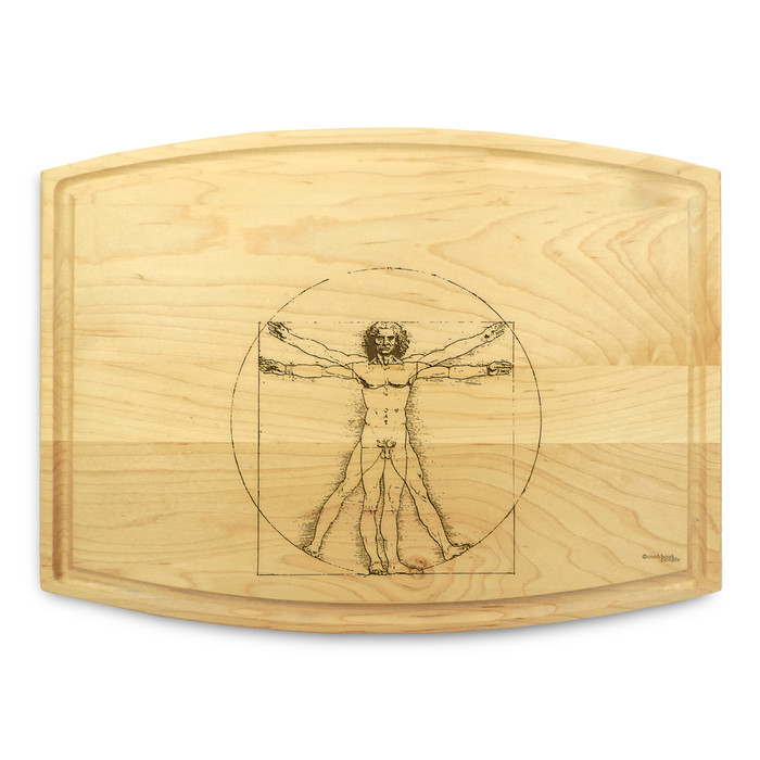 Vitruvian Man 9x12 Grooved Personalized Cutting Board