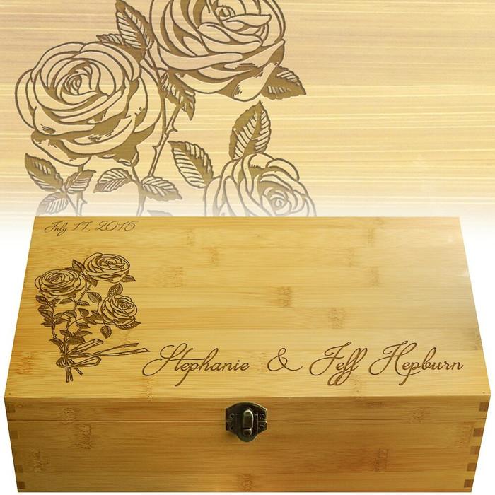 Rose Ribbon Wood Multikeep Gift Box