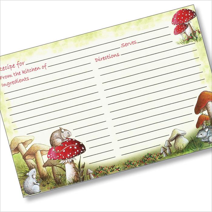 4x6 Mice among Mushrooms Recipe Card