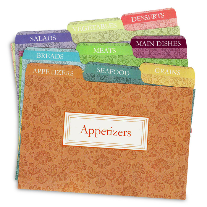 Cookbook People 4x6 Agatha Tabbed Recipe Card Dividers 9ea